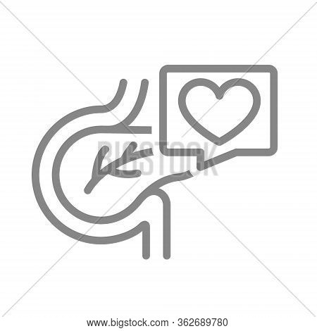 Pancreas With Heart In Speech Bubble Line Icon. Healthy Organ Digestive And Endocrine System Symbol