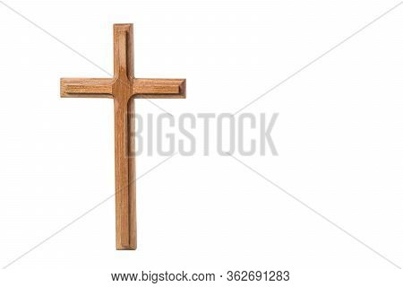 The Cross Standing On White Background. Cross On A Backdrop.the Cross Symbol For Jesus Christ. Chris
