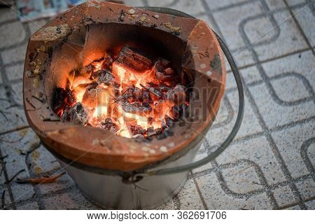 Stove Charcoal.orange Flames Of Coals In The Grill / Charcoal Stove Burning.brazier Charcoal Burning