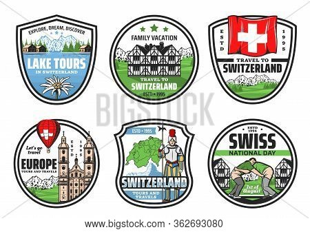 Switzerland City Tours, Landmarks And Attractions Sightseeing Trips, Travel Agency Vector Icons. Swi