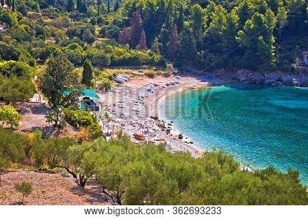 Korcula. View Of Korcula Island Beach In Pupnatska Luka Cove, Southern Dalmatia Archipelago Of Croat