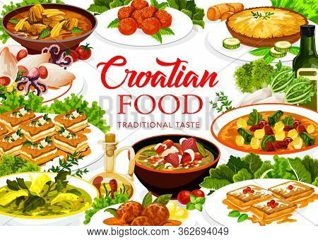Croatian Cuisine Food, Vector Restaurant Menu Cover, Croatia Authentic Traditional Meals. Croatian L