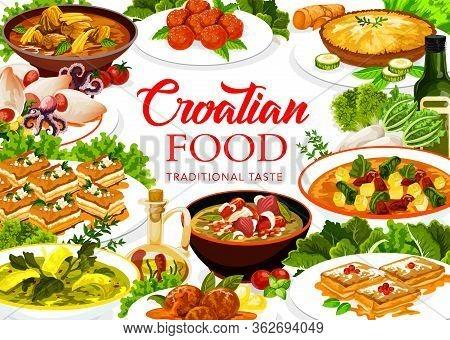 Croatian Cuisine Food, Vector Restaurant Menu Cover, Croatia Authentic Traditional Meals. Croatian L