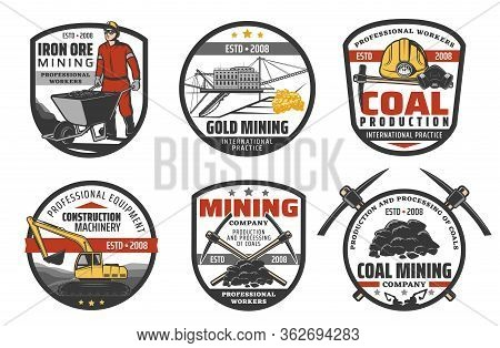 Mining Industry, Coal Mine Machinery And Equipment, Vector Company Icons. Metal Iron Ore And Fossil