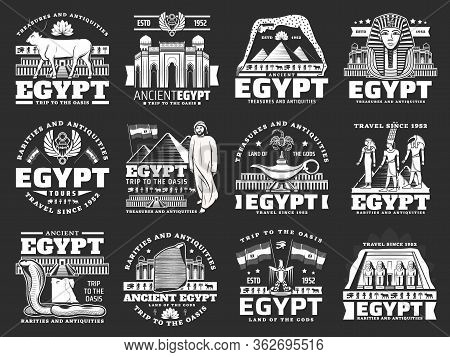 Egypt Travel, Vector Tourism Company Icons For City Tours, Landmarks And Sightseeing. Ancient Egypt