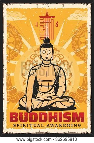 Buddhism Religion Vector Vintage Retro Poster, Buddha Meditation Posture And Mudra Hand. Buddhist Re