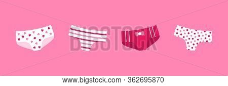 Cute Pink Girly Panties With Different Ornaments, Decor. Set, Collection Of Vector Icons.