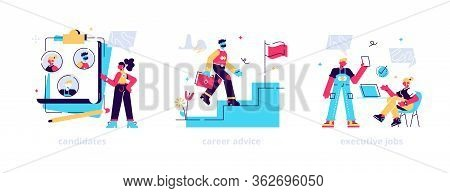 Recruitment And Headhunting Agency, Employment Service Icons Set. Employees Hiring. Candidates, Care