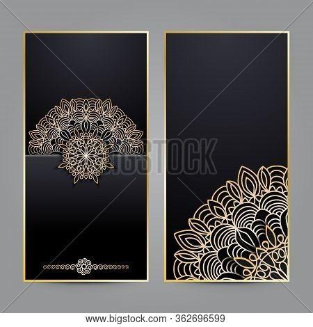Luxury Decorative Mandala Design Background In Gold And Dark Color. Sample Design Template For Ornat