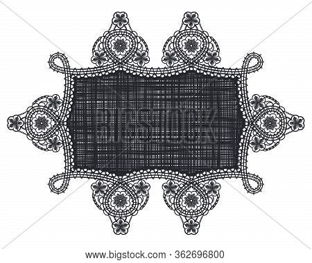 Rectangle Lace Doily With Lacy Corner Pattern. Black Ornament And Template Of Elegant Decor For Wedd