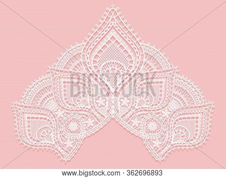 Texture Lace Fabric In Shape Of A Triangle. White Lace On Pink Background. Crocheted Thin Fabric Mad