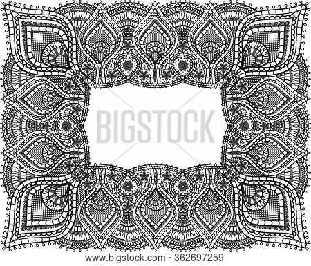 Rectangular Lace Frame Design. Black Doily Fabric And Old Lace Paisley Ornament With Flowers Isolate