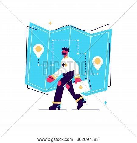 Internet Order Delivery Tracking. Gps Navigator Service Website Flat Design Element. Pointer, Magnif