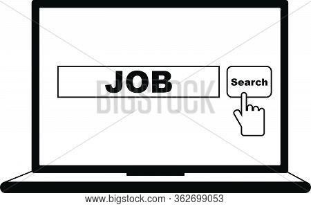 Clicking Search Button To Search Job On Internet, Work Position Searching, Black And White Vector Il