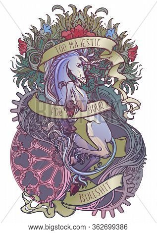 Colourfull And Intricate Drawing Of Hte Legendary Unicorn On A Decorative Flames And Plants Ornament