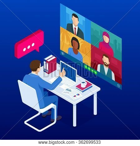 Isometric Video Conference. Online Meeting Work Form Home. Home Office. Multiethnic Business Team. S