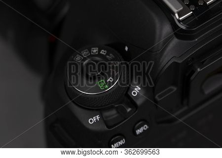 Tokyo, Japan 22.04.2020 - Dslr Camera Canon Mark 5d Iv Detail Shot Close Up Mode Dial