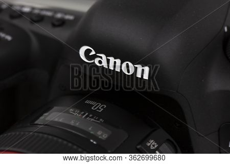Tokyo, Japan 22.04.2020 - Dslr Camera Canon Mark 5d Iv Detail Shot Close Up Canon Logo And Distance