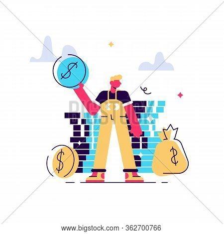 Finances Management. Budget Assessment, Financial Literacy, Accounting Idea. Financier With Cash, Ec