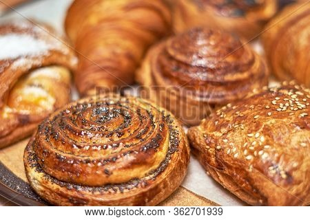 Snippet Showcase Pastry Shop. A Variety Of Fresh Pastries. Close-up. Delicious And Healthy Range Of
