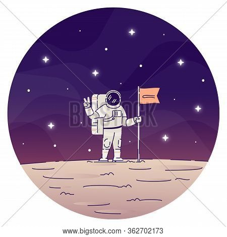 Astronaut Planting Flag On Moon Flat Concept Icon. Male Cosmonaut Wearing Spacesuits, Making Peace S