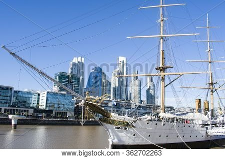 Buenos Aires City, Argentina. June 16, 2018.and Old Ship In Puerto Madero, Buenos Aires Argentina