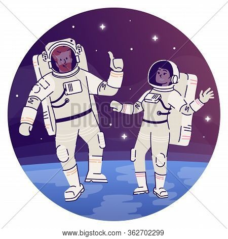 Astronauts In Outer Space Flat Concept Icon. Cosmonaut In Spacesuit Floating In Cosmos Sticker, Clip