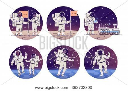 Astronauts In Outer Space Flat Concept Icons Set. Cosmonauts Flying In Zero Gravity, Placing Flag St