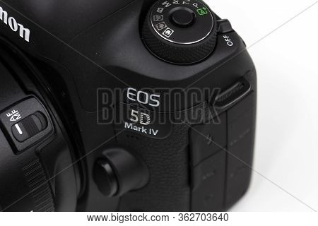 Tokyo, Japan 22.04.2020 - Dslr Camera Canon Mark 5d Iv Detail View Close Up Mode Dial Isolated