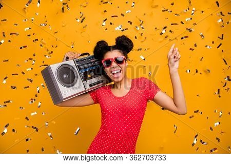 Cheerful Afro American Girl Student Dancer Disco Lover Hold Retro Boom Box Dance Discotheque Enjoy M
