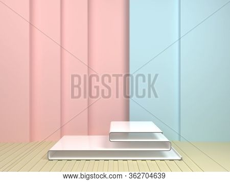 Scene With Geometrical Forms, Flexible Forms In Pastel Colors, 3D Rendering.