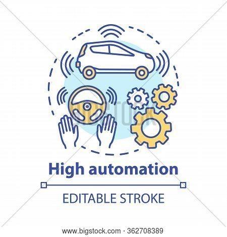 High Automation Concept Icon. Car With Autonomous Features. Steering Assist. Autopilot System. Drive