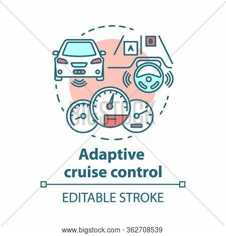 Adaptive Cruise Control Concept Icon. System For Avoid Road Collisions. Self-driving Car. Autopilot