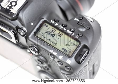 Tokyo, Japan 22.04.2020 - Dslr Camera Canon Mark 5d Iv Detail Shot Close Up Lcd Panel Isolated On Wh