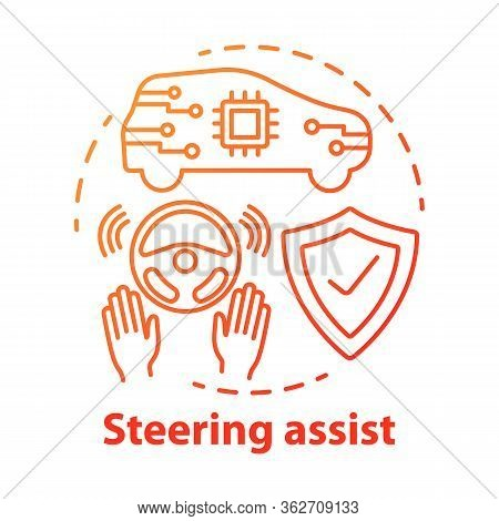 Steering Assist Concept Icon. Smart Car. Steering Support. Driverless Vehicle. Safe Driving Autopilo