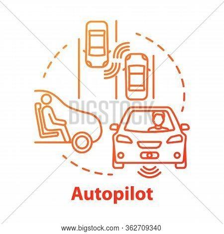 Autopilot Concept Icon. Autonomous Car, Driverless Vehicle. Smart Car. Self-driving Auto Idea Thin L