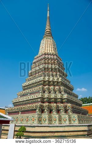 Panorama Of Temple Of Reclining Buddha Or Wat Pho Complex, View To Phra Maha Chedi Si Rajakarn Group