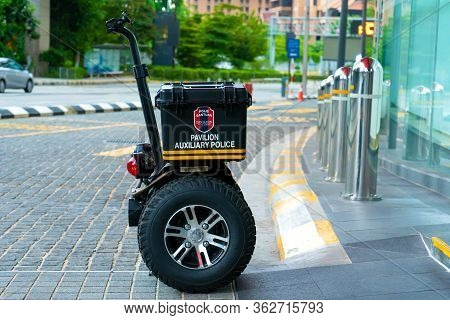 Patrol Segway Electric Scooter With Flashing Lights. The Guarding And Quick Response Of The Security