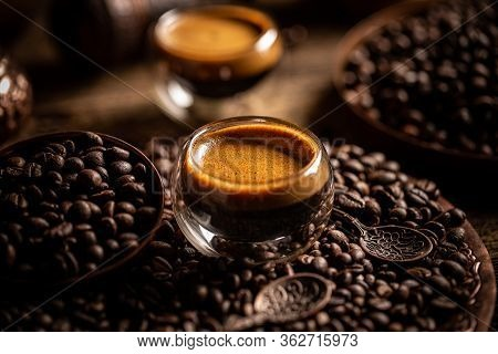 Cup Of Black Coffee And Beans, Coffee Still Life