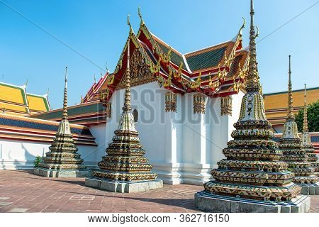 View To Chedi Of Temple Of Reclining Buddha Or Wat Pho Complex. Bangkok, Thailand