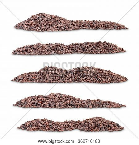 Plie Of Indian Black Salt Named Kala Namak On White Background