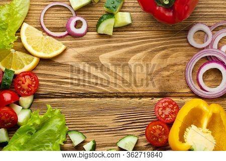 Fresh Colorful Vegetables, Healthy Cooking Cut Ingredients Template, Rustic Background. Ingredients