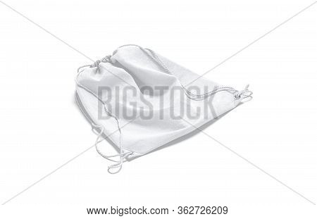Blank White Drawstring Backpack Mock Up Lying, Side View, 3d Rendering. Empty Canvas Pouch With Cord