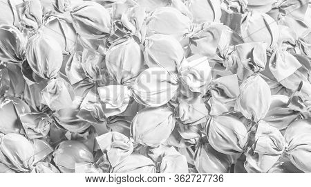 Blank White Hard Candy Foil Wrapper Mockup Stack, 3d Rendering. Empty Round Sweet Bonbon Wrapping Mo