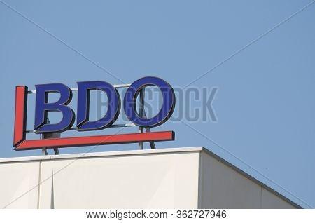 Lamone, Ticino, Switzerland - 23rd April 2020 : Bdo Logo Hanging On A Building In Switzerland. Bdo I