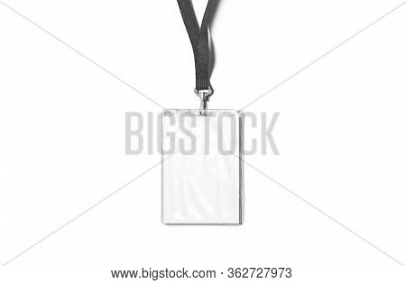 Blank Black Lanyard With Laminated Name Badge Mock Up, Isolated, 3d Rendering. Empty Business Identi