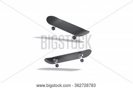 Blank Black Wood Skateboard Mockup, No Gravity, Top And Bottom View, 3d Rendering. Empty Skateboarde