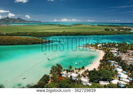 Aerial Picture Of The East Coast Of Mauritius Island. Beautiful Lagoon Of Mauritius Island Shot From