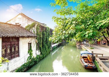 Zhouzhuang, China Is A Famous Water Town In The Suzhou Area. There Are Many Ancient Towns In The Sou