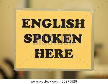 English Spoken here (english class sign)
